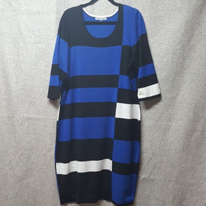 Danny & Nicole Color Block Sweater Dress 3X Danny
